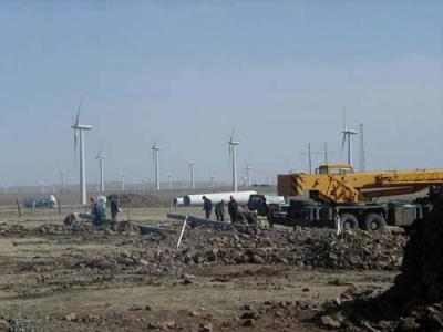 wind farm being built in Mongolia