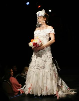 plastic wedding gown